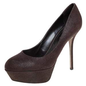 Sergio Rossi Brown Lizard Embossed Leather Platform Pumps Size 37