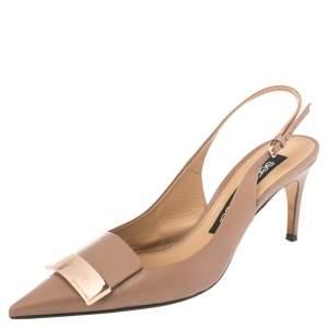 Sergio Rossi Beige Leather SR1 Slingback Sandals Size 38.5