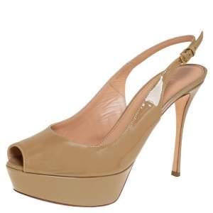 Sergio Rossi Beige Patent Leather Platform  Peep Toe Slingback Sandals Size 36.5