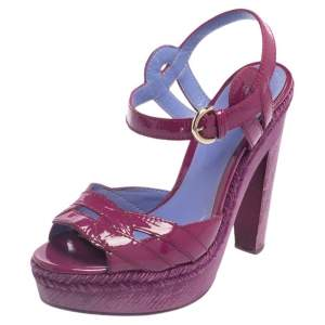 Sergio Rossi Purple Patent Leather Wooden Platform And Heel Ankle Strap Sandals Size 36