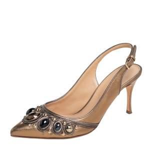 Sergio Rossi Metallic Bronze Leather Jewel Embellished Slingback Sandals Size 37