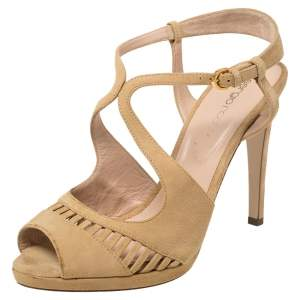Sergio Rossi Beige Suede Ankle Strap Sandals Size 39