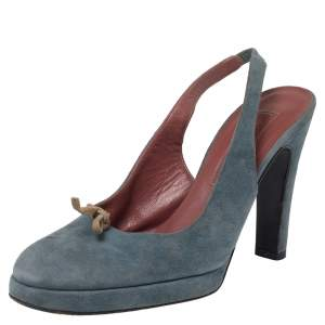 Sergio Rossi Blue Suede Slingback Sandals Size 37