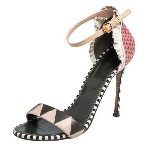 Sergio Rossi Multicolor Leather Ankle Strap Sandals Size 40