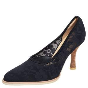 Sergio Rossi Black Floral Stretchable Fabric Pumps Size 38.5