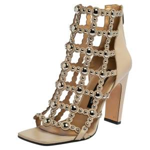 Sergio Rossi Beige Leather Studded Caged Ankle Length Sandals Size 39