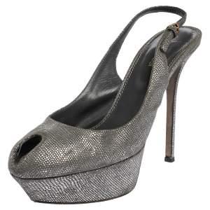 Sergio Rossi Grey/Silver Suede Cachet Peep Toe Platform Slingback Sandals Size 37.5