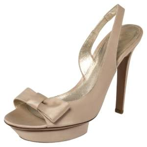 Sergio Rossi Limited Edition Beige Satin Bow Slingback Sandals Size 38.5