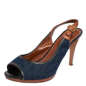 Sergio Rossi Brown/Blue Denim and Leather Peep Toe Slingback Sandals Size 40