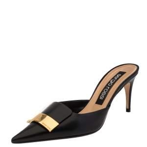 Sergio Rossi Black Leather SR1 Mules Size 40