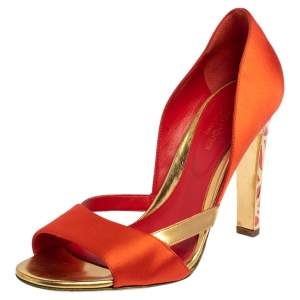 Sergio Rossi Orange/Gold Satin and Leather Open Toe Sandals Size 36.5