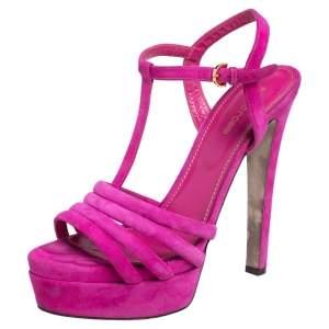 Sergio Rossi Pink Suede T Strap Platform Sandals Size 40