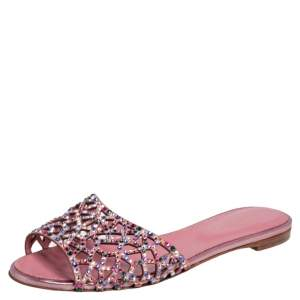 Sergio Rossi Pink Suede Tresor Crystal Embellished Flats Size 37.5