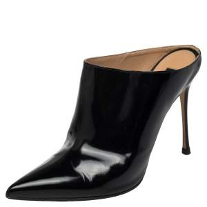 Sergio Rossi Black Glazed Leather Pointed Toe Mules Size 40