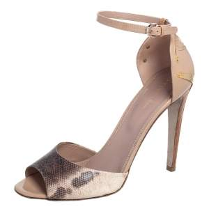 Sergio Rossi Beige/Grey Karung and Patent Leather Ankle Strap Sandals Size 40