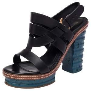 Sergio Rossi Black Leather Platform Cork Block Heel Slingback Sandals Size 37