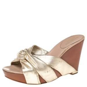 Sergio Rossi Metallic Gold Leather Wedge Slide Sandals Size 40