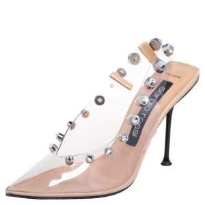 Sergio Rossi Beige PVC Crystal Embellished Slingback Sandals Size 39