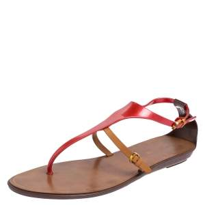 Sergio Rossi Pink/Brown Leather and Rubber Thong Sandals Size 41