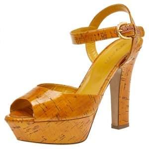 Sergio Rossi Brown Leather Platform Sandals Size 38