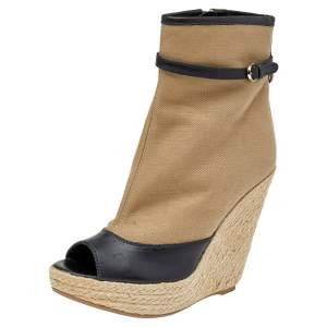 Sergio Rossi Beige/Black Leather And Canvas Espadrille Boots Size 38