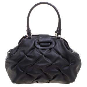 Symthson Black Leather Nancy Top Handle Bag