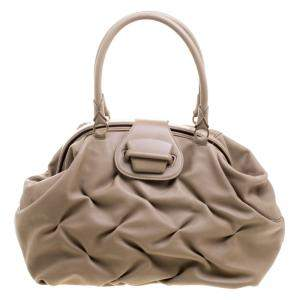 Symthson Beige Leather Nancy Top Handle Bag
