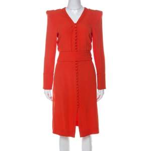 Sonia Rykiel Orange Crepe Button Front Power Shoulder Belted Dress L