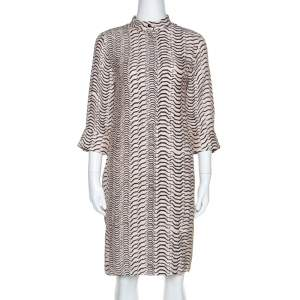 Sonia Rykiel Bicolor Printed Silk Long Sleeve Shift Dress M