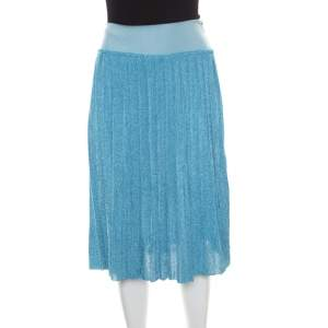 Sonia Rykiel Metallic Blue Ribbed Waist Pleated Midi Skirt S