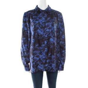 Sonia Rykiel Purple Abstract Printed Silk Button Front Shirt L