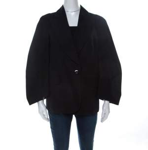 Sonia Rykiel Black Cotton Wide-Bell Sleeve Blazer L