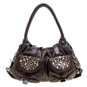 Sonia Rykiel Dark Brown Leather Studded Satchel