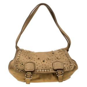 Sonia Rykiel Metallic Gold Leather Studded Shoulder Bag