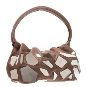 Sonia Rykiel Dark Beige Glass Embellished Leather Hobo