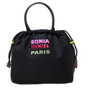 Sonia Rykiel Black Nylon Drawstring Shoulder Bag