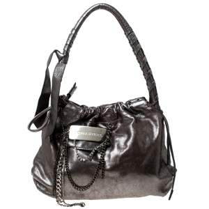 Sonia Rykiel Silver Leather Chain Embellished Shoulder Bag