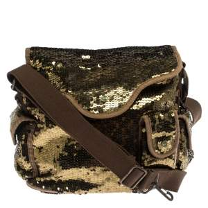 Sonia Rykiel Gold Sequin and Fabric Shoulder Bag