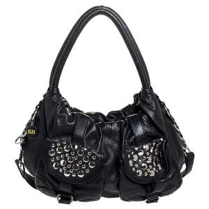 Sonia Rykiel Black Leather Studded Shoulder Bag