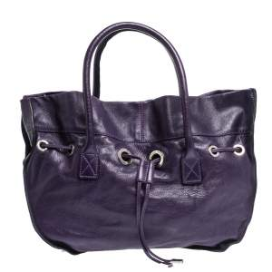 Sonia Rykiel Purple Leather Drawstring Tote