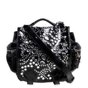 Sonia Rykiel Black Patent Leather Crystal Embellished Top Handle Bag