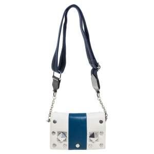 Sonia Rykiel White/Blue Leather Studded Flap Crossbody Bag