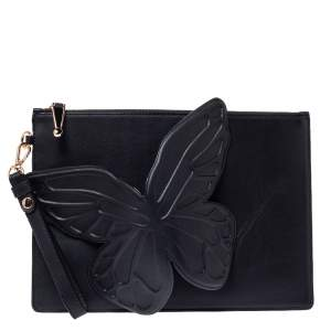 Sophia Webster Black Leather Butterfly Wristlet Pouch