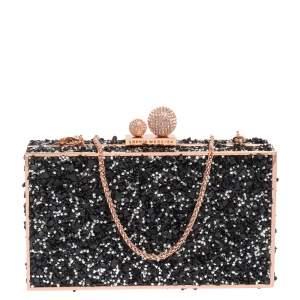 Sophia Webster Black Crystal Embellished Clara Box Clutch