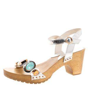 Sophia Webster Metallic Silver Crystal Embellished Leather Amanda Ankle Strap Sandals Size 40