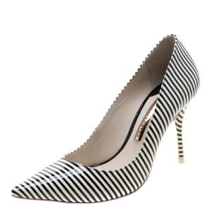 Sophia Webster Monochrome Striped Patent Leather Pointed Toe Pumps Size 38