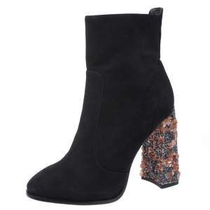 Sophia Webster Black Suede Leather Felicity Ankle Boots Size 41