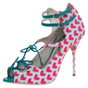Sophia Webster Pink/Multicolor Heart Print Nylon Sandals Size 39.5