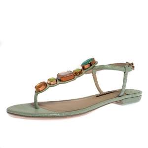 Sophia Webster Mint Green Iridescent Leather Lily Jewel Embellished Thong Sandals Size 40