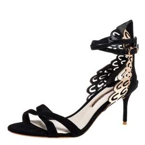 Sophia Webster Black Suede and Laser Cut Rose Gold Leather Micah Open Toe Sandals Size 40